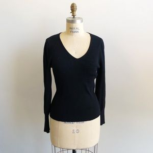 A New Day Black V-Neck Long Sleeve Sweater Shirt